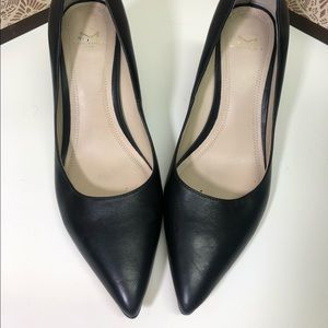 Marc Fisher block heel pointy toe pump leather